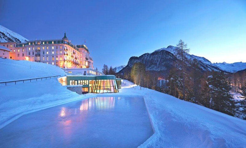 5 Star Luxury Castle Hotel near St. Moritz, Swiss Alps.